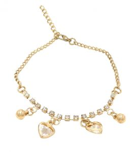 Fashblush Golden Heart And Ball Drop Charms Alloy Anklet(product Code - Fb42015)