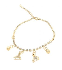 Fashblush Golden Vintage Triangle Ball Drops Charm Alloy Anklet(product Code - Fb42017)