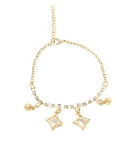 Fashblush Golden Star Crystal Ball Drops Charm Alloy Anklet(product Code -fb42020)