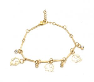 Fashblush Golden Elephant Charm Alloy Cubic Zirconia Anklet For Girls(product Code - Fb42021)