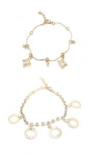 Fashblush Golden Filigree Geometric Cubic Zirconia Charm Anklets (pack Of 2) (product Code Fb42023)