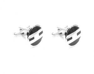 Cufflinks - FashBlush Brass Cufflink Set  (Silver, Black) ( Product Code - FB44025)