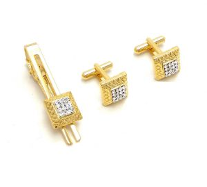 Fashblush Golden Geometric Class Apart Alloy Cufflink & Tie Pin Set For Men In A Gift Box