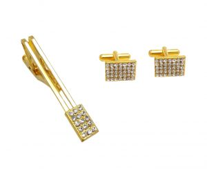 Cufflinks - FashBlush Golden Royal Rectangular Class Apart Cufflink & Tie Pin Set For Men In a Gift Box