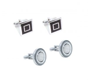 Fashblush Classic Men Silver Black Round Square Cufflink Set (set Of 4)in A Gift Box For Men