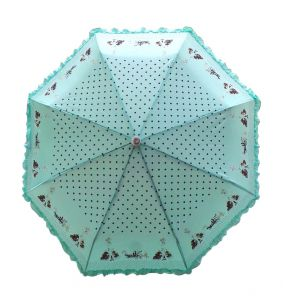 Fashblush Polka Dots Frill Affair 2 Fold Umbrella(green, Black, Brown) (product Code Fb62032)