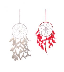 Fashblush Mystical Feathers Dream Catchers Wool Windchime (25 Inch, White, Red)(product Code -fb64055)