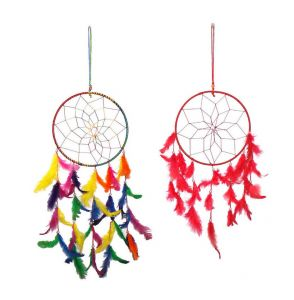 Fashblush Mystical Feathers Dream Catchers (pack Of 2) Wool Windchime (25 Inch, Multicolor)(product Code - Fb64064)