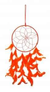 Fashblush Mystical Feathers Dream Catchers Wool Windchime(23 Inch, Orange) (product Code Fb64067)