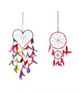 Fashblush Multicolor Mystical Feathers Dream Catchers Set Of 2 Wool Windchime