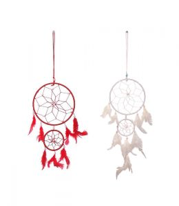 FashBlush Red And White Mystical Feathers Dream Catchers Set Of 2 (Code - FB64090)
