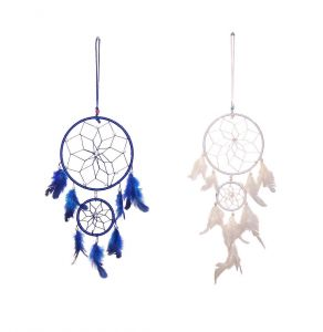 FashBlush Blue And White Mystical Feathers Dream Catchers Set Of 2