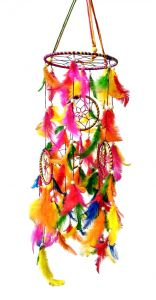 Fashblush Handmade Big Chandelier Jhoomer Multicolor Mystical Feathers Dream Catchers Wall Dcor (di.-28x6 Inches)