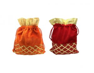 Fashblush Handmade Shagun Gift Pouch Potlis (set Of 2)(orange,gold,red)(product Code - Fb68006)