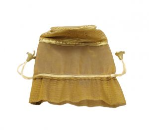 Fashblush Shiny Golden And Green Tissue Silk Return Gift Shagun Party Pouch Potlis (set Of 8) (code - Fb68025)