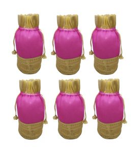 Fashblush Shiny Golden And Pink Tissue Silk Return Gift Shagun Party Pouch Potlis (set Of 6) ( Code Fb68029)