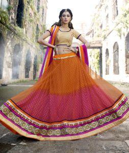 Kvs Fab Chaniya, Ghagra Cholis - Kvsfab Orange & Pink  Net  Embroiderd Lehenga Choli KVSLC11001LAJ