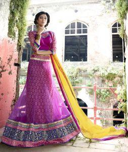Kvs Fab Chaniya, Ghagra Cholis - Kvsfab Pink  Net  Embroiderd Lehenga Choli KVSLC11007LAJ