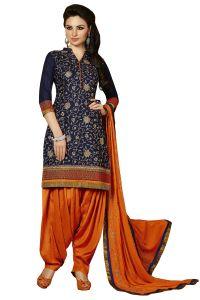 Kvs Fab Dress Materials (Singles) - Kvsfab Blue Crepe printed Salwar Kameez, KVSSK2751JODHA_2_PRINTED