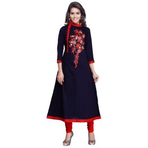 Kvs Fab Kurtis - Kvsfab Blue Cotton Readymade Embroidered Straight Cut Party Wear Kurti ,KVSKR3906MON