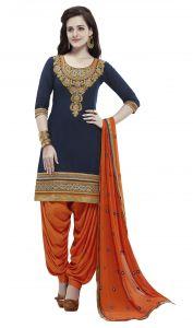 Kvs Fab Dress Materials (Singles) - Kvsfab Navy Blue Cotton Cambric Salwar Kameez 3955Jodha-3