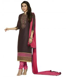Kvs Fab Women's Clothing - Kvsfab Karishma Kapoor's Brown Pure Cotton Cambric Unstitched Dress Material