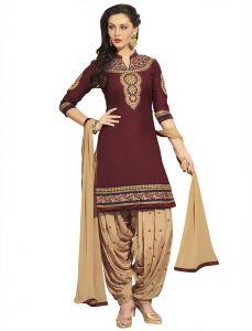 Kvs Fab Dress Materials (Singles) - Kvsfab Brown  Pure Cotton Unstitched  Patiala Salwar Suit