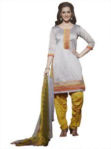 Kvs Fab Women's Clothing - Kvsfab Grey Pure Chanderi Embroiderd Patiala Dress Material KVSSK273SUNH_2