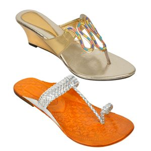 Wedges - Buy 1 Altek Womens Wedges & Get 1 Kolhapuri Chappal Free (  Code -  1368_silver_s1319_gold )