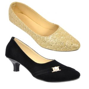 Buy 1 Altek Womens Heels Shoes & Get 1 Womens Bellies Free ( Code - S1322_golden_s1307_black )