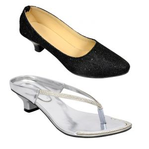 Buy 1 Altek Womens Heels Shoes & Get 1 Ladies Sandals Free ( Code - S1318_silver_1335_black)