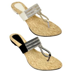 Combo Pack Of Two Multi-color Stylish Sandal For Women (code - 1521_2_1321_wht_bal)