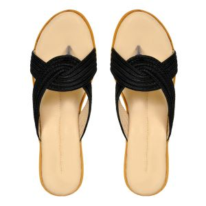 Wedges - Altek Smooth Comfy Black Wedges for Women (Code foot_1323_black_p150)