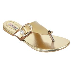 Altek Stylish Shiny Gold Flats For Women (code - Foot_1373_gold_p175)
