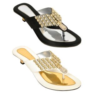 Altek Combo Of Two Stylish Multicolor Heel Sandal For Women (code - Foot_1535_2_1348_wh_blk_p400)