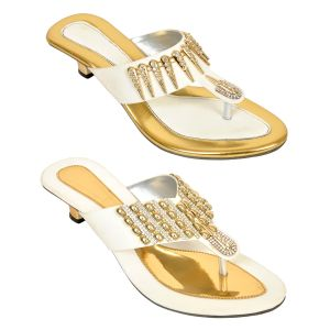 Altek Combo Of Two Chunky Stylish White Heel Sandal For Women (code - Foot_1536_2_1348_wh_gol_p400)