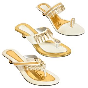 Altek Combo Pack Of Three Multi-color Stylish Heel Sandal For Women (code - Foot_1537_3_1348_gol_1349_wht_1351_wht_p600)