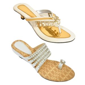 Altek Combo Of Two Chunky Stylish White Heel Sandal For Women (code - Foot_1544_2_1351_1355_wht_p400)