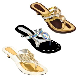 Altek Combo Pack Of Three Multi-color Stylish Heel For Women (code - Foot_1548_3_1344_sil_1347_gld_1348_wht_p600)