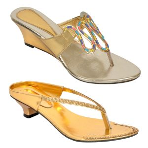 Altek Combo Pack Of Two Stylish Multi-color Heel Sandal For Women (code - Foot_1551_2_1318_1319_gld_p400)