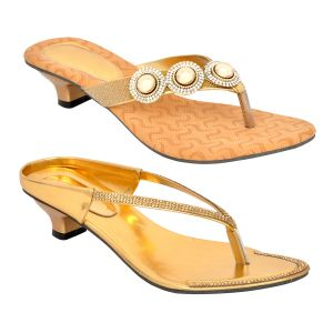 Altek Combo Of Two Stylish Multi-color Heel Sandal For Women (code - Foot_1552_2_1316_1318-gld_p400)