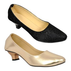 Altek Combo Pack Of Two Multi-color Shiny Stylish Ballerina For Women (code - Foot_1555_2_1305_gld_1360_blk_p350)