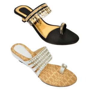Altek Combo Of Two Chunky Stylish White Heel Sandal For Women (code - Foot_1556_2_1349_blk_1355_wht_p400)