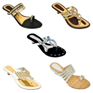 Altek Combo Of Five Chunky Stylish Multi-color Heel Sandal For Women (code - 1558_5_1344_sil_1347_gld_1348_wht_1349_blk_1355_wht_p1000)