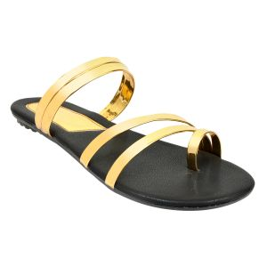 Altek Stylish Crossed Gold Patent Flats For Women (code - Foot_a13212_gold_p210)