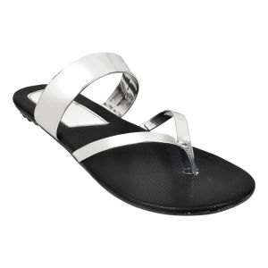 Altek Stylish Plain Silver Patent Flats For Women (code - Foot_a13216_silver_p210)
