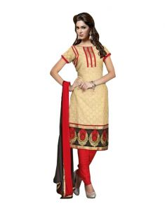 Sinina Chanderi Cotton Off White Color Dress Material-red112tangy5007