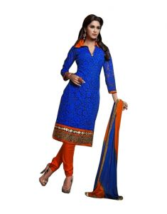 Sinina Chanderi Cotton Blue Color Dress Material-red112tangy5011