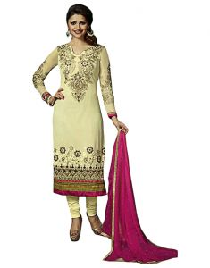 Sinina Designer Brasso Beautifully Embroidered Semi Stitched Dress Material - 121tangy 2046