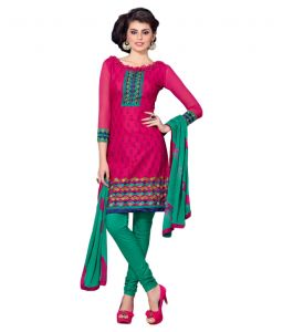 Multi Colour Cotton Embroidered Salwar Kameez Suit Unstitched Dress Material 14lwb167